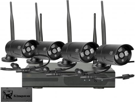 IP-Kamerasystem 4 Cam (schwarz) 120GB SSD (geräuschloser Betrieb)