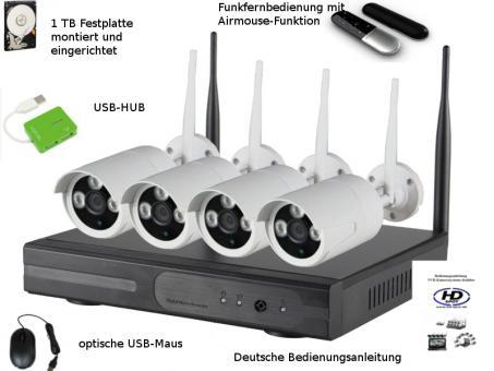Kabellose Überwachungskameras im Set mit 1 TB Festplatte