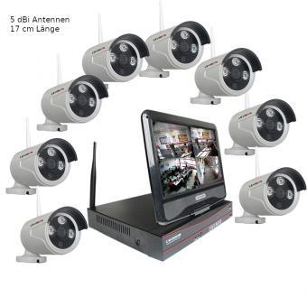 Kabelloses IP-Funkkamerasystem mit 8 Kameras und 10 Zoll Monitor