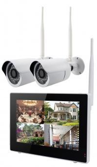 IP-Kamerasystem drahtlos mit 9 Zoll Touchscreen 2 x Kamera