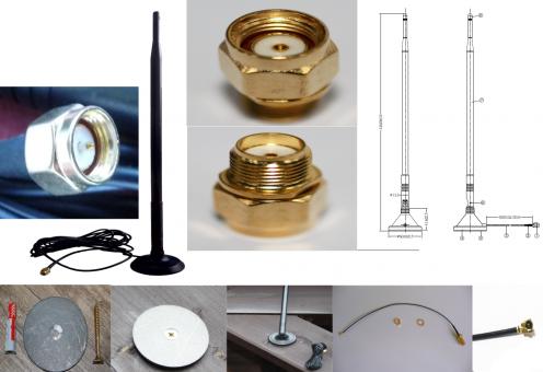 Wlan-Verstärkung (aktiv) für drahtlose Kameras und Steuergeräte 9 dBI, 3 Meter Kabel mit Magnetfuß, Kabel  UFL zu RP SMA
