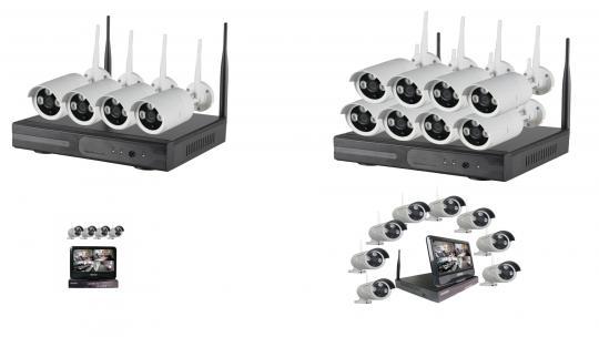 Komponenten für Funkkamerasystem 960p drahtlos bis zu 8 HD IP-Kameras konfigurierbar mit und ohne 10 Zoll Monitor, App für Android oder Apple