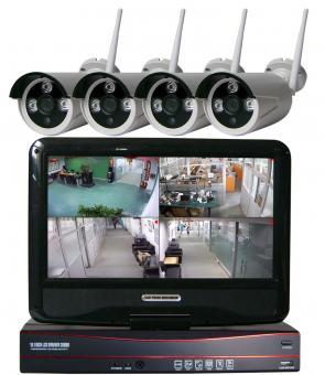 Funkkamerasystem HD 4 Kameras, IP-Funktion, 10 Zoll Monitor und 9 dBi Wurfantenne